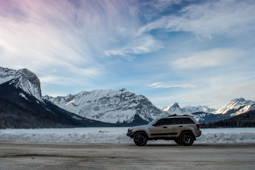 Epic skies over Banff Alberta in Jeep WK