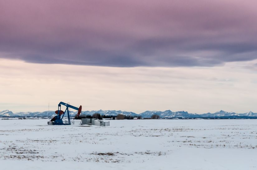 Frozen Alberta Oil Rig Pumping oil HD