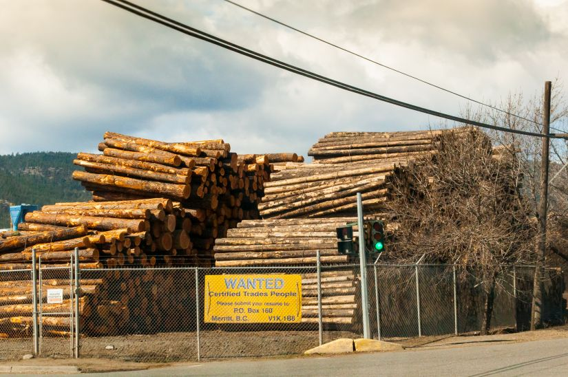 Wood processing yard British Columbia Canada