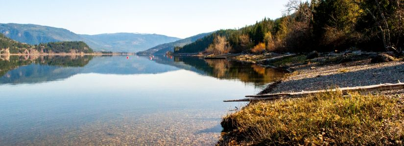 Calm Okanagan Lake in British Columbia Canada